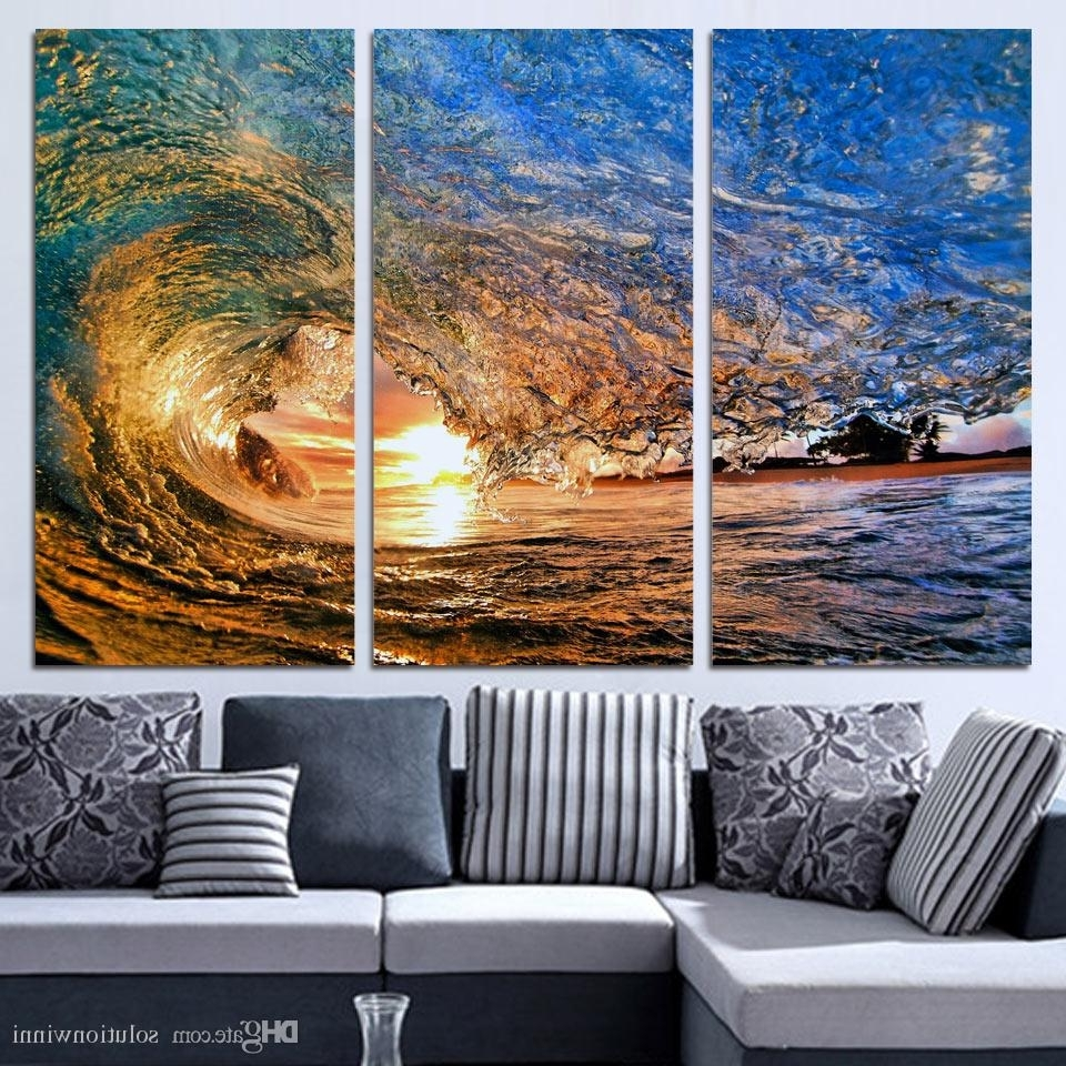 Newest Cheap Oversized Canvas Wall Art With Online Cheap 3 Panels Canvas Art Sea Huge Waves Sunset Home Decor (View 14 of 20)