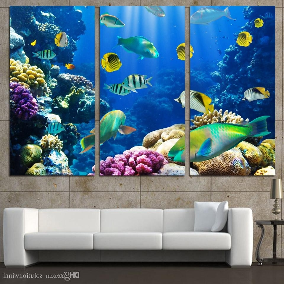 Newest Fish Painting Wall Art Within 2018 3 Panels Canvas Art Tropical Coral Color Fish Home Decor Wall (View 15 of 20)