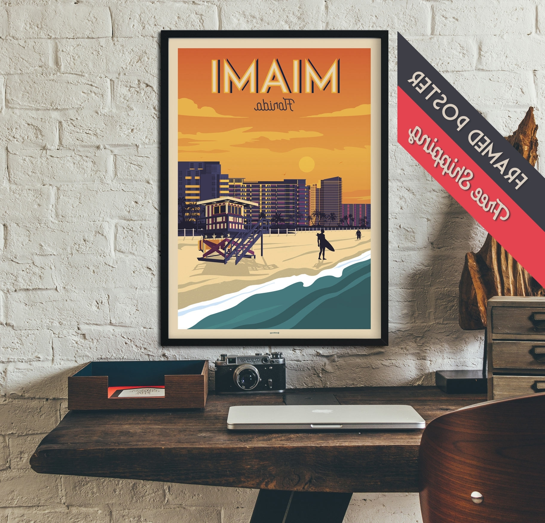 Newest Florida Wall Art With Miami – Florida – Vintage Travel Poster, Framed Poster, Wall Art (View 20 of 20)