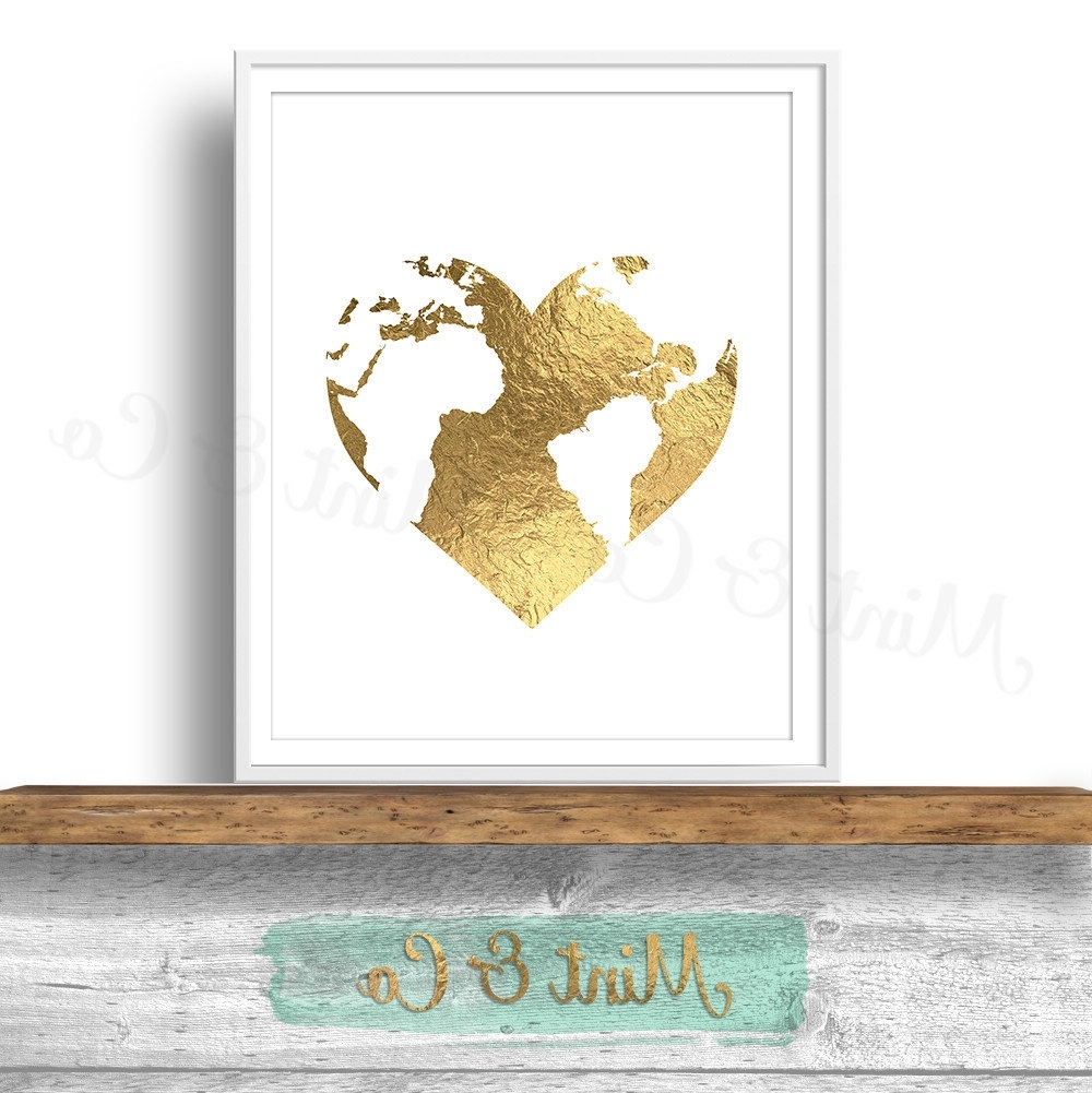Newest Gold Foil Wall Art Within Gold Heart World Globe Printable Wall Art Decor Print, Instant (View 9 of 20)