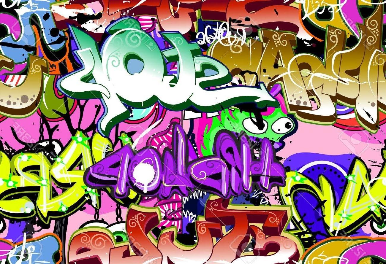 Newest Graffiti Wall Urban Art Vector Background Seamless Hip Hop. (View 13 of 15)