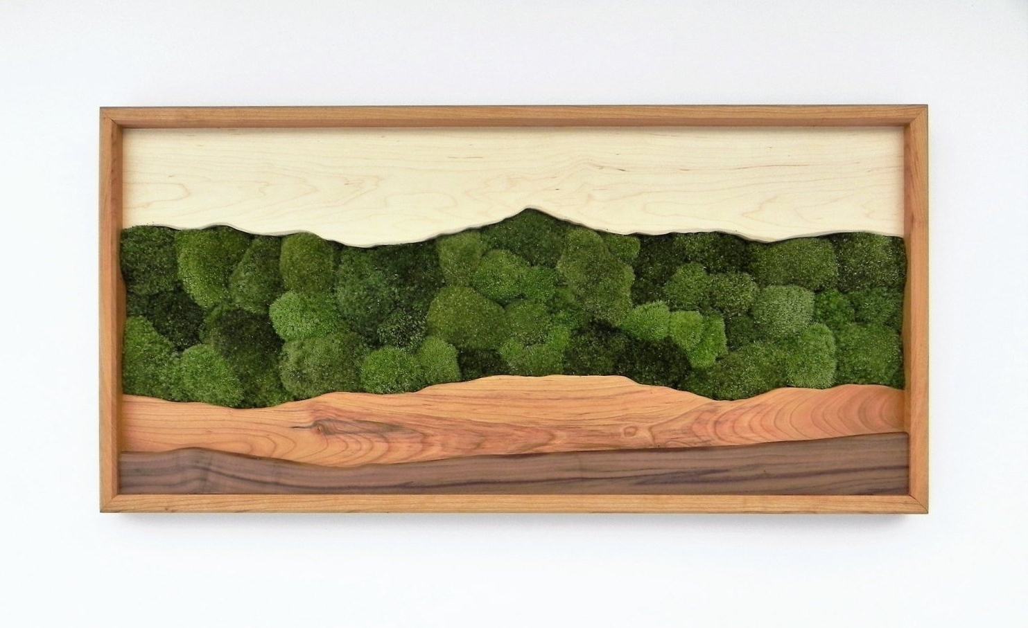 Newest Green Wall Art With Green Mountain Moss Wall Art /sugar Maple, Cherry, Walnut, Preserved (View 7 of 20)