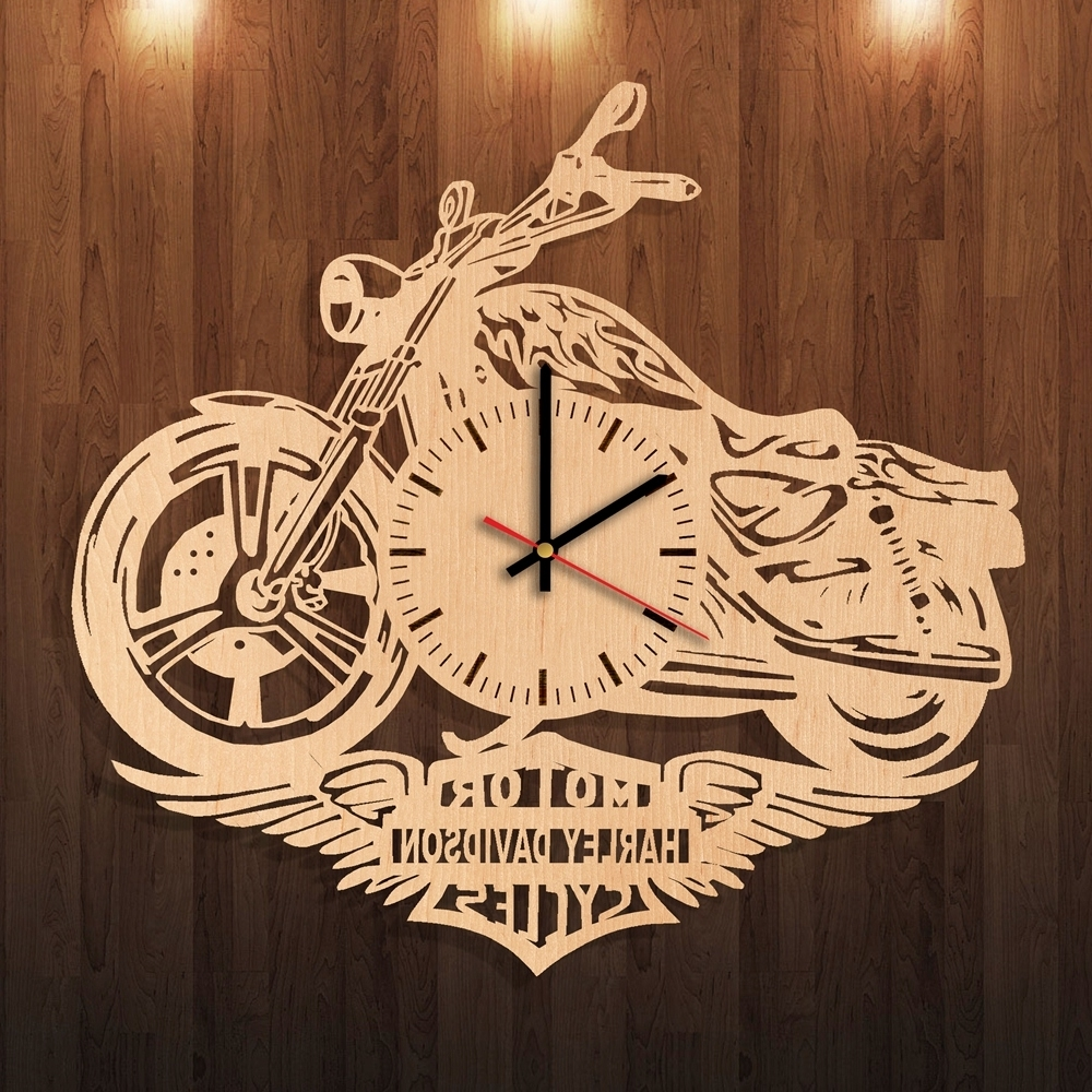 Newest Harley Davidson Party Decorations Handmade Natural Wood Wall Clock Inside Harley Davidson Wall Art (View 15 of 20)