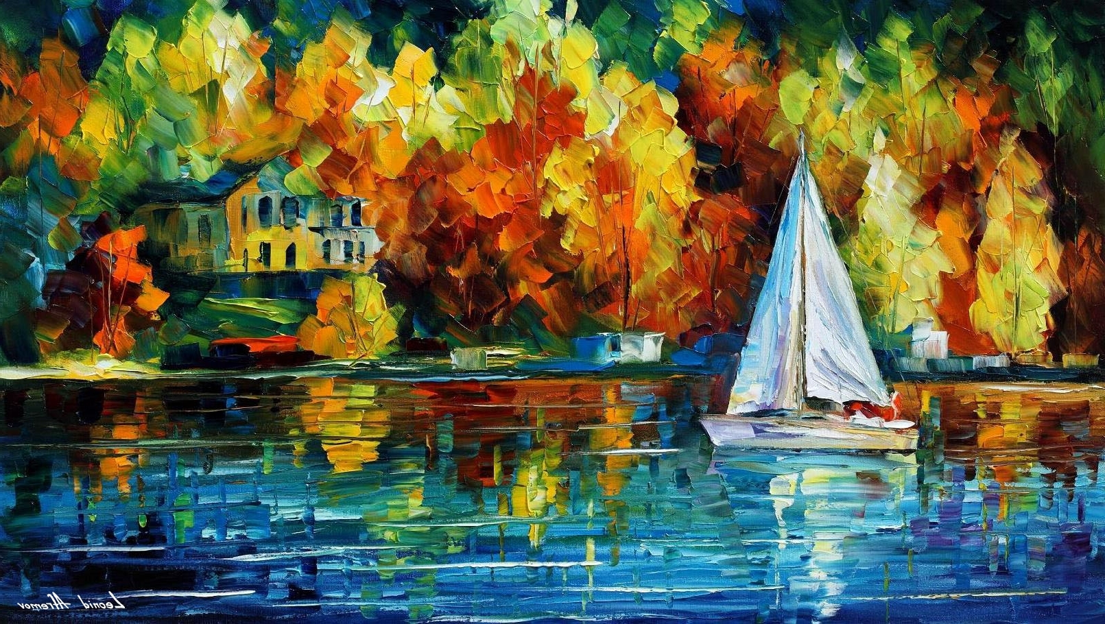 Newest House Of The Lake — Palette Knife Oil Painting On Canvasleonid Within Lake House Wall Art (View 8 of 15)