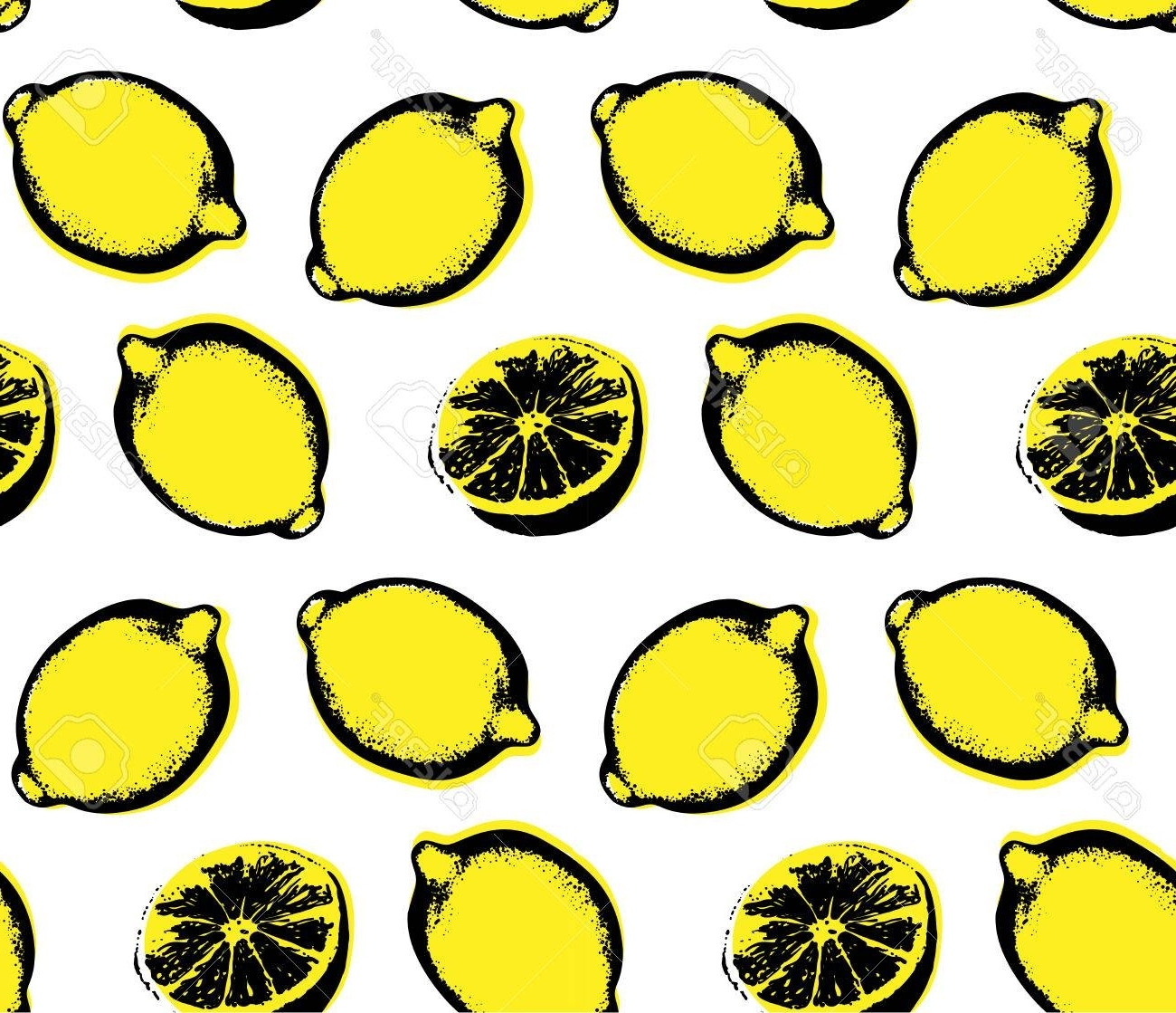 Newest Lemon Wall Art Intended For Vector Hand Drawn Lemon Seamless Pattern. Sketch. Pop Art (View 16 of 20)