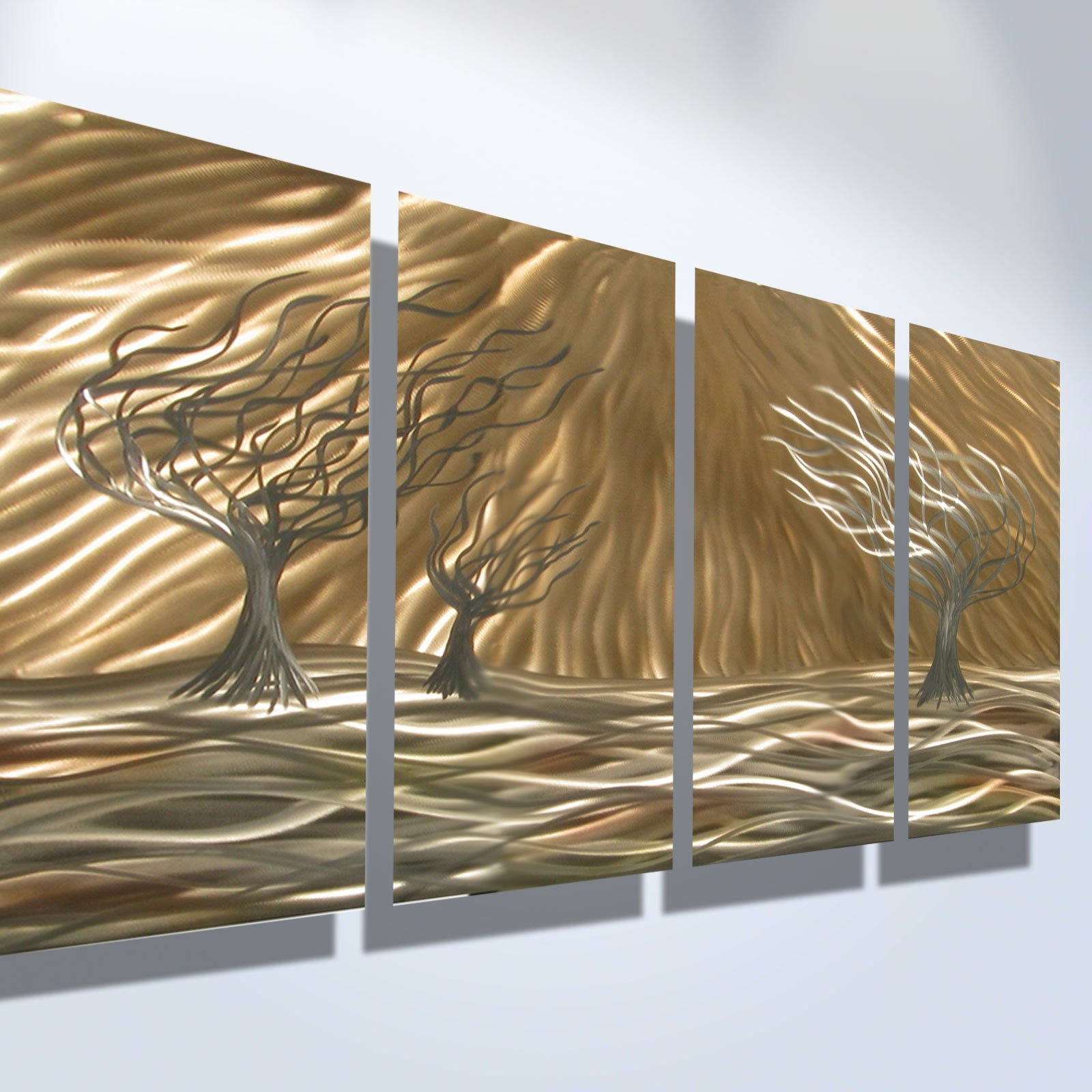Newest Metal Wall Art Decors Pertaining To 3 Trees 4 Panel – Abstract Metal Wall Art Contemporary Modern Decor (View 10 of 15)
