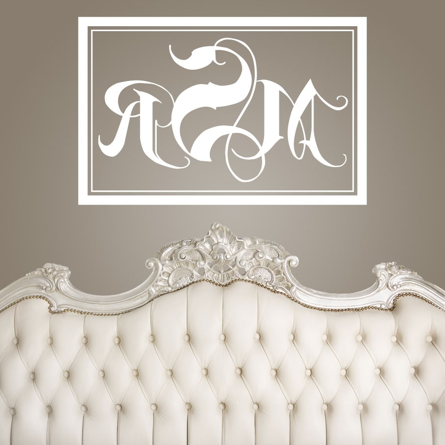 Newest Monogram Wall Art Pertaining To Wedding Signs : Rectangle Monogram Wall Fabulous Monogrammed Wall (View 2 of 20)