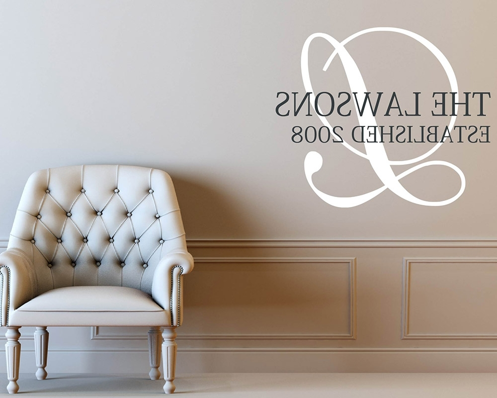 Newest Monogram Wall Decals – Vinyl Initial Wall Art Stickers In Monogram Wall Art (View 7 of 20)