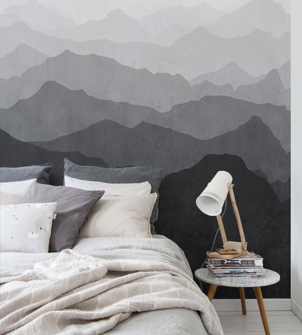 Newest Mountain Mural Wall Art Wallpaper – Black And White – Peel And Stick Within Grey Wall Art (Gallery 18 of 20)