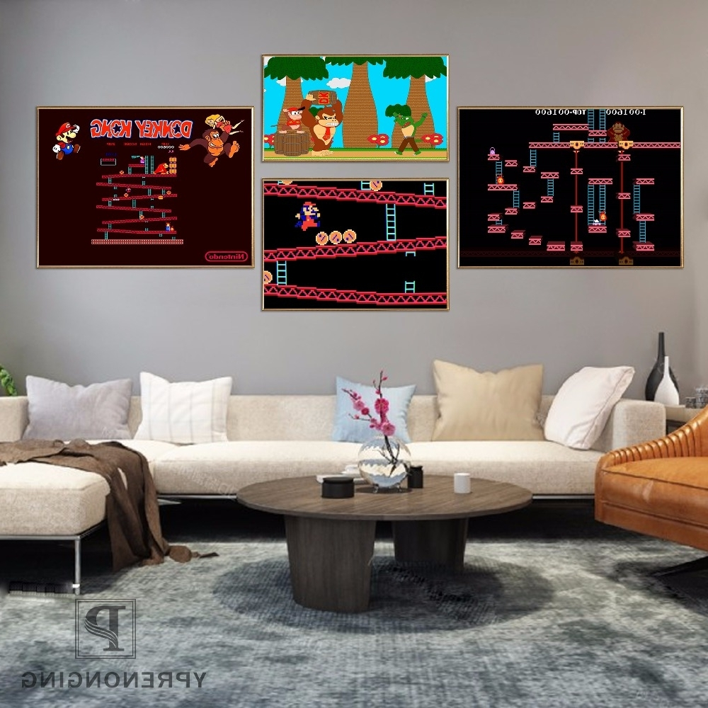 Newest Nintendo Wall Art Regarding Canvas Poster Silk Fabric Donkey Kong Retro Nintendo Gaming Poster (View 9 of 20)