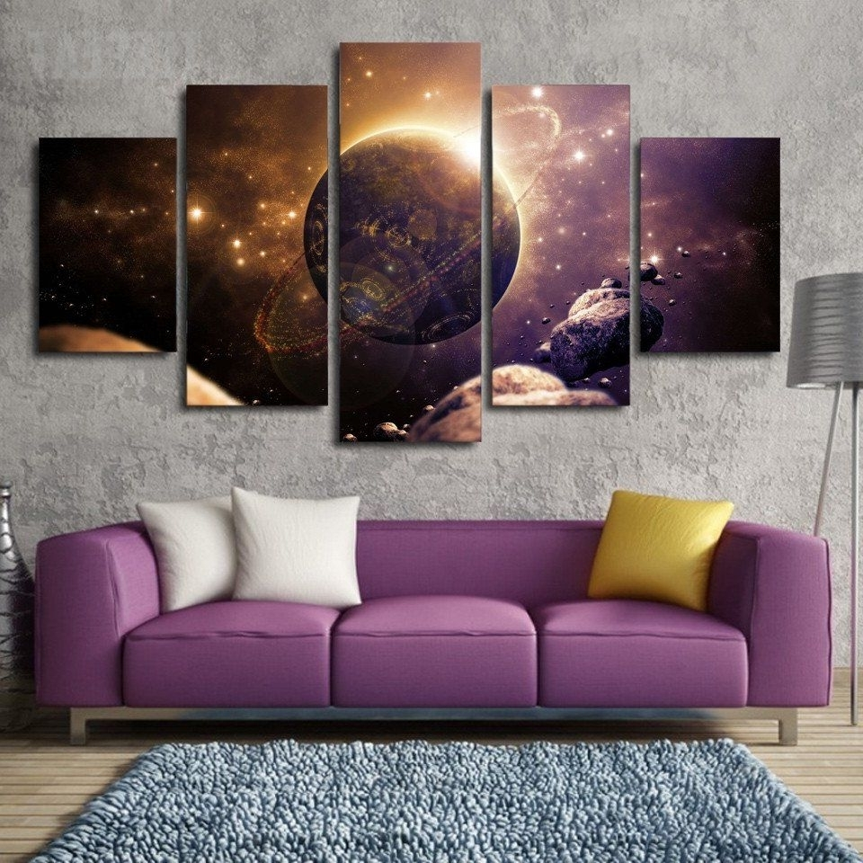 Newest Planet Of The Universe Painting – 5 Piece Canvas (View 13 of 20)