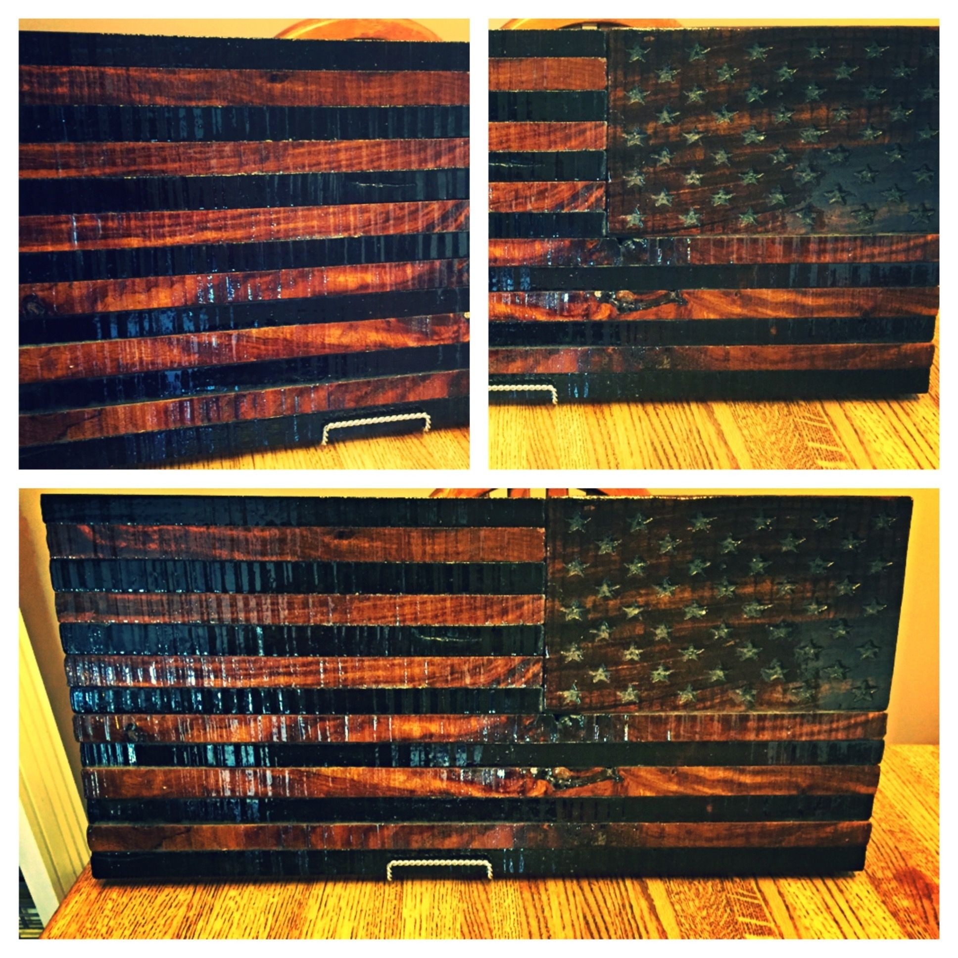 Newest Rustic American Flag Wall Art Regarding Custom Rustic Wooden American Flagtorched Metal Works (View 8 of 20)