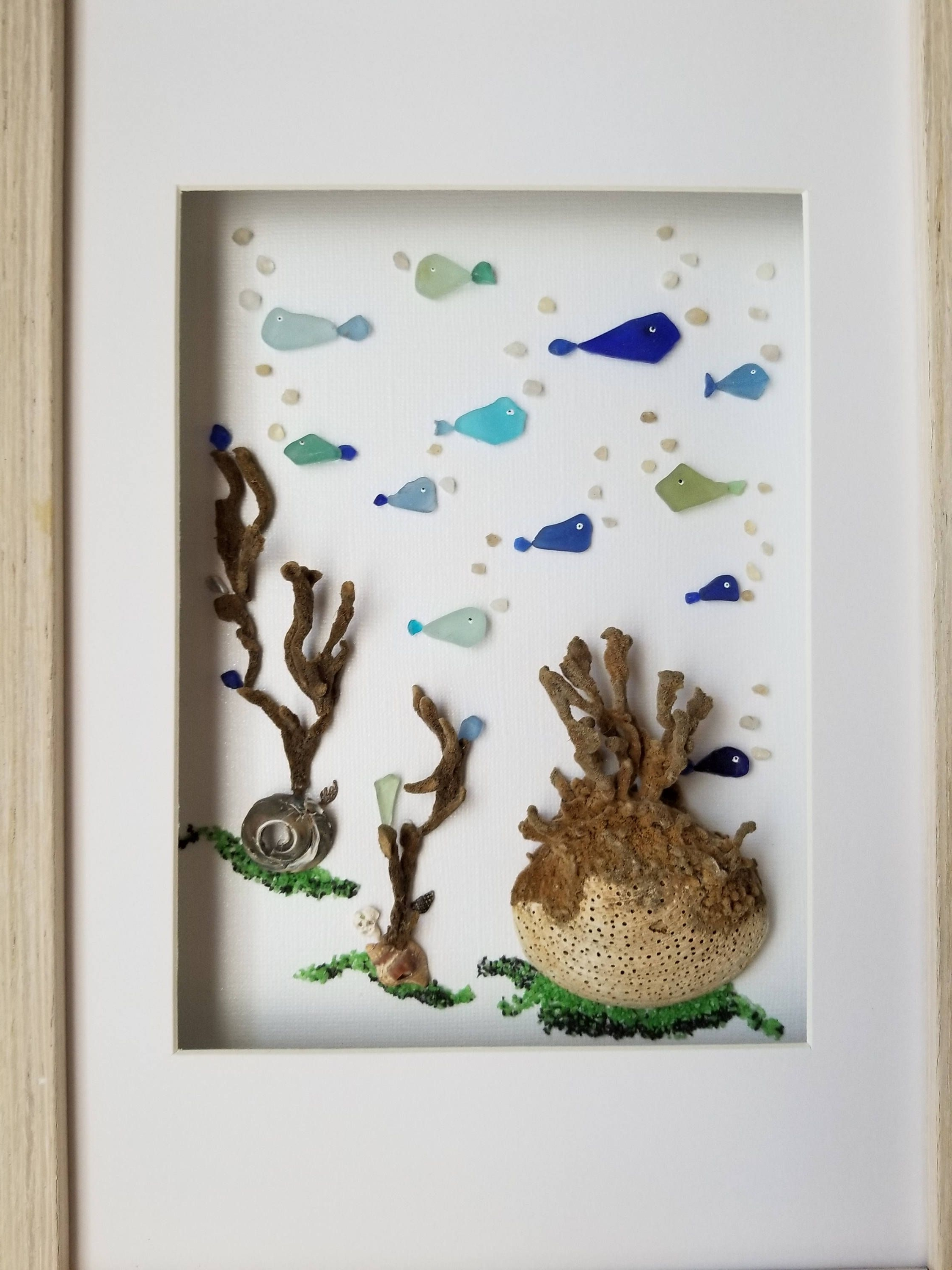 Newest Sea Glass Art, Framed Sea Glass Bathroom Wall Decor, Costal Decor Inside Sea Glass Wall Art (View 10 of 15)