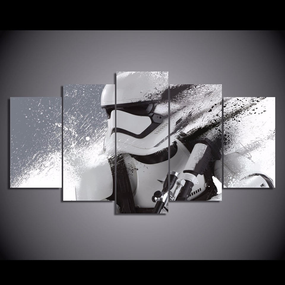 Newest Star Wars Wall Art Intended For 5 Pcs/set Framed Hd Printed Star Wars Stormtrooper Episode Picture (View 3 of 15)