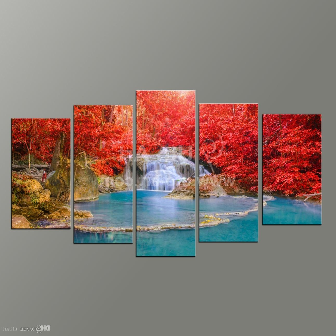 Newest Wall Art Paintings Intended For 2018 5 Panel Wall Art Paintings Landscaping Waterfall Picture And (View 12 of 20)