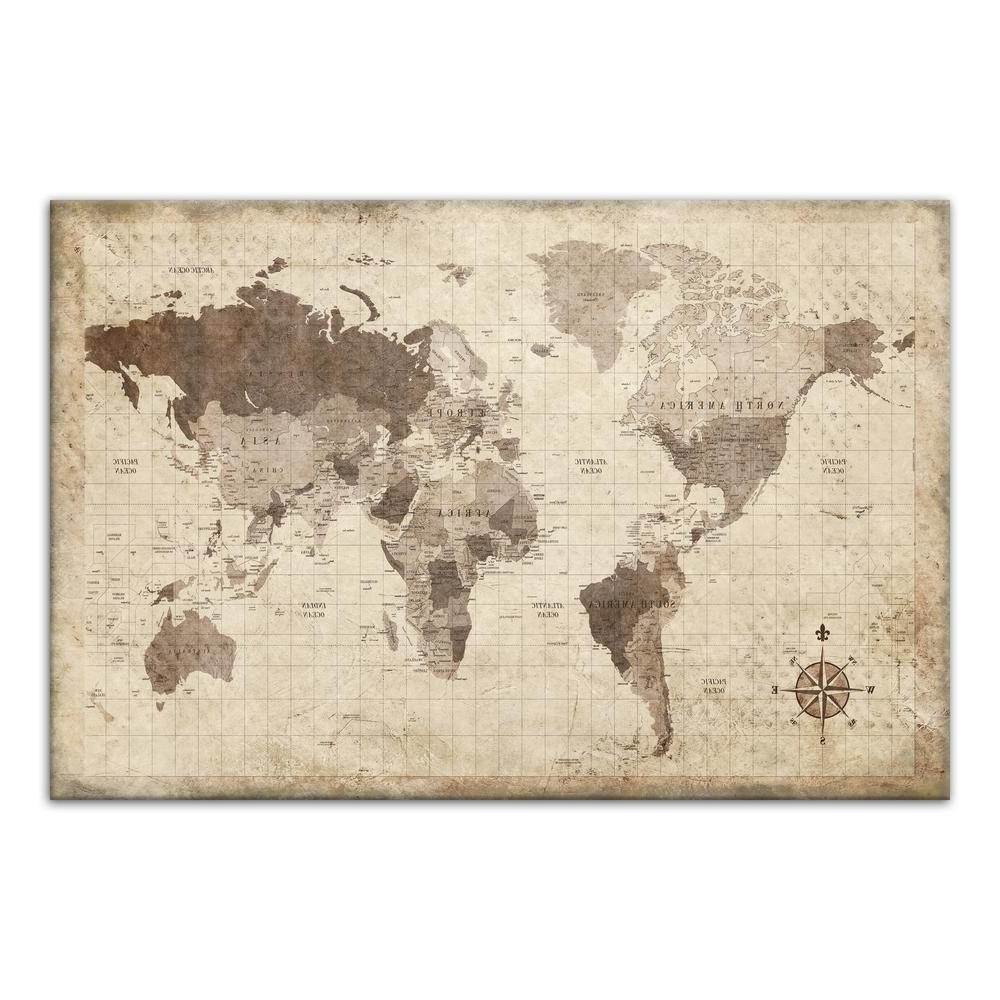 Newest World Map Wall Art Canvas Throughout Designs Direct 24 In. X 36 In (View 13 of 20)