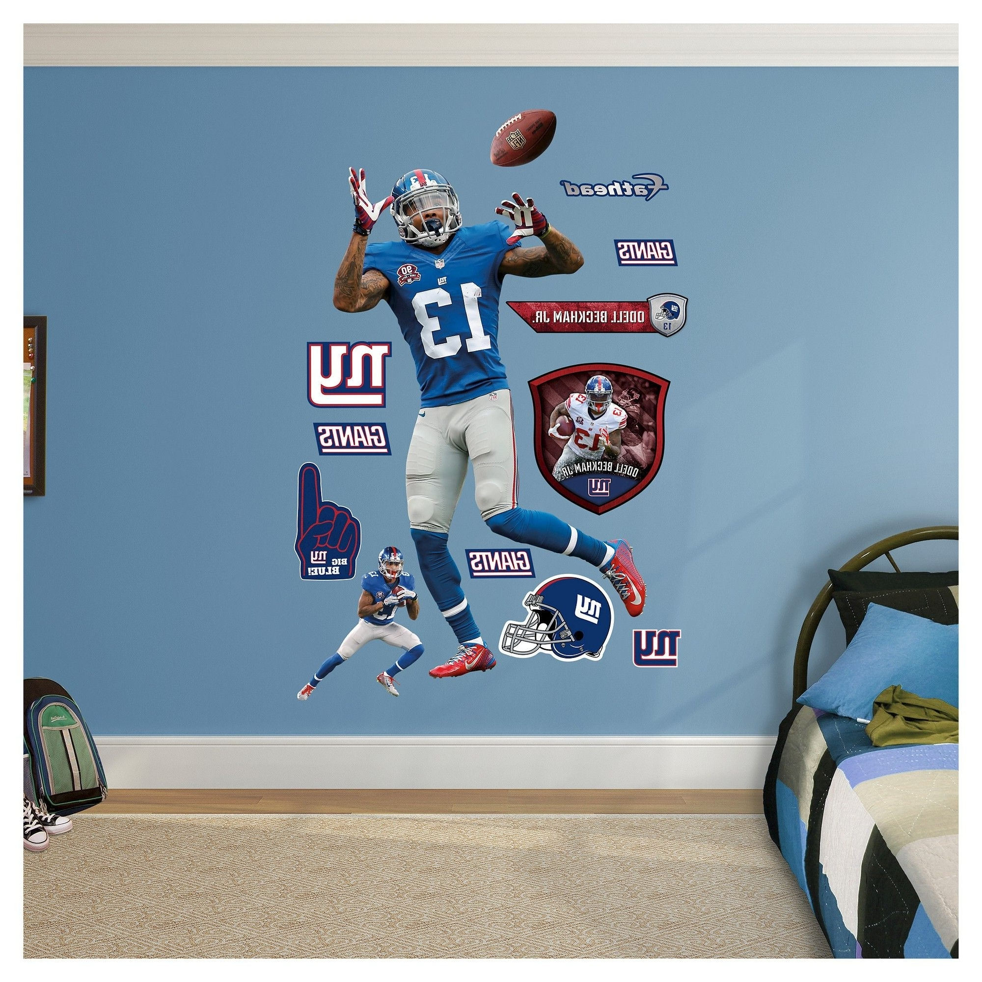 Nfl New York Giants Odell Beckham Jr Fathead Wall Decal Set Blue Throughout Well Known Nfl Wall Art (Gallery 20 of 20)