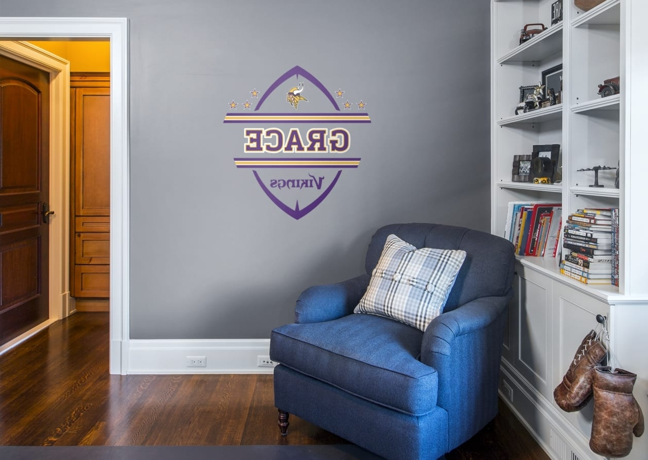 Nfl Wall Art Pertaining To Most Popular Minnesota Vikings Personalized Name Wall Decal (Gallery 8 of 20)