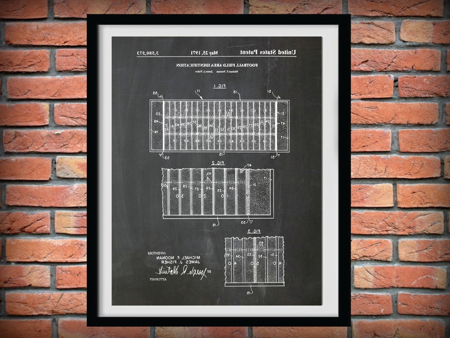 Nfl Wall Art Within Popular 1971 Football Field Layout Patent – Art Print Poster – Sports Wall (View 13 of 20)