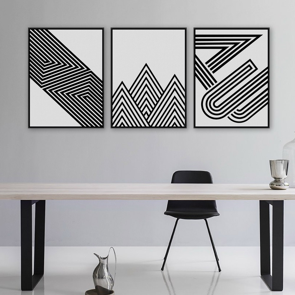 Nordic Black White Minimalist Geometric Shape Art Prints Poster In Well Known White Wall Art (View 12 of 20)