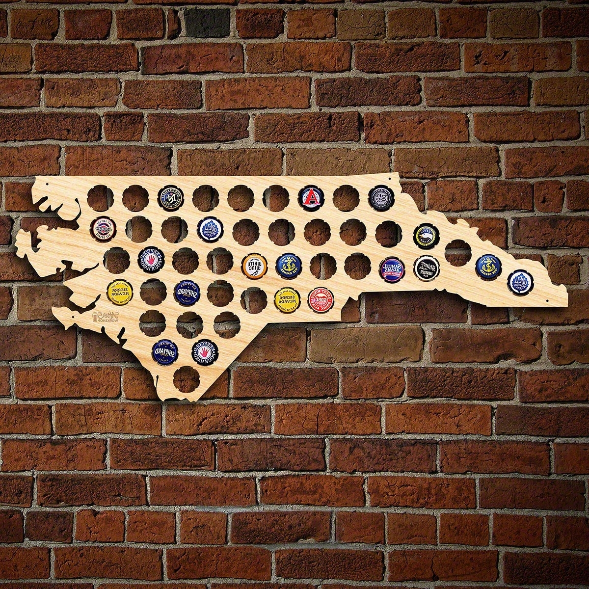 North Carolina Wall Art Pertaining To Well Known North Carolina Beer Cap Map (Gallery 10 of 20)
