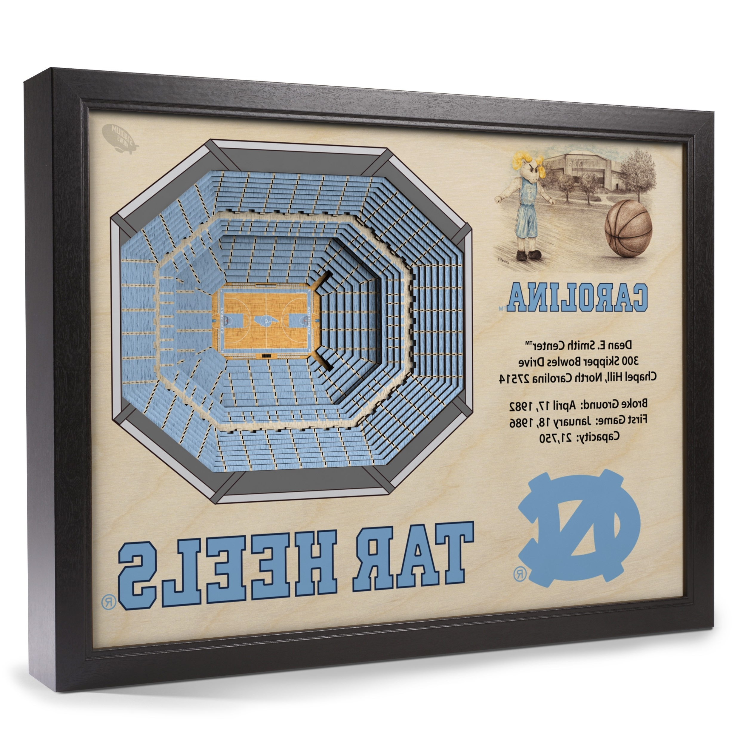 North Carolina Wall Art Within Most Popular North Carolina Tar Heels Stadiumview Wall Art – Dean Smith Center 3 (Gallery 19 of 20)