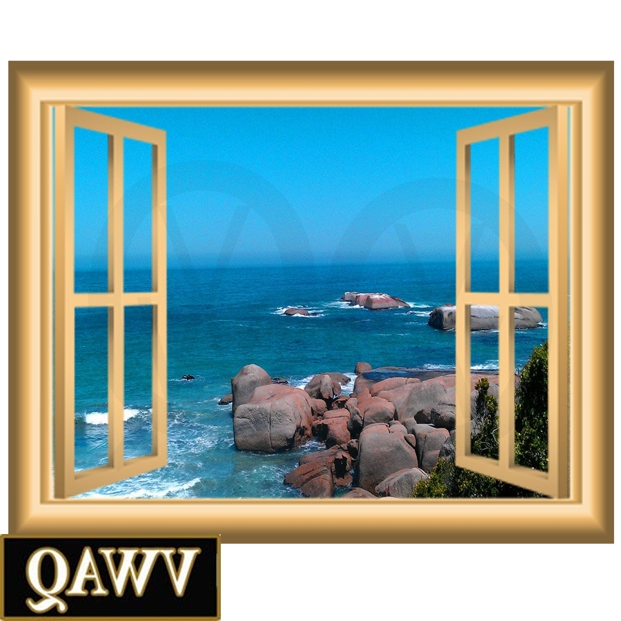 Ocean Scene 3D Window Frame Family Wall Art Vinyl Decal Rocky Beach Inside Well Known Window Frame Wall Art (Gallery 1 of 15)
