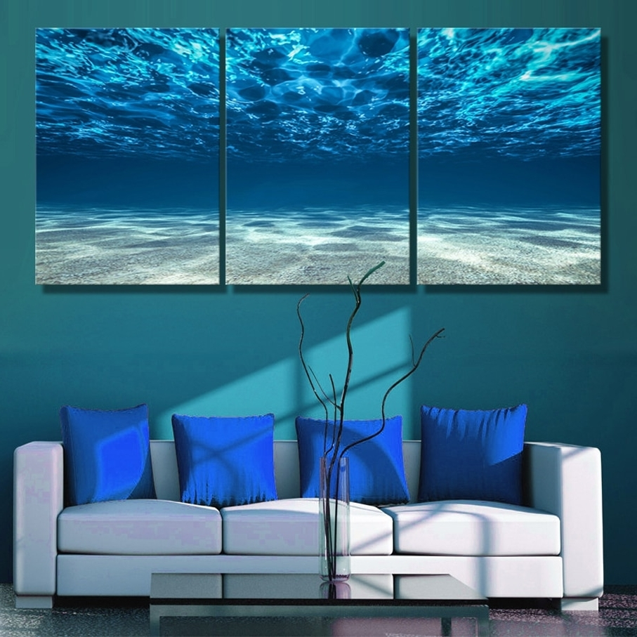 Ocean Wall Art In Well Liked 3 Panels Canvas Paiting Print Blue Ocean Wall Art Picture Seaview (View 18 of 20)