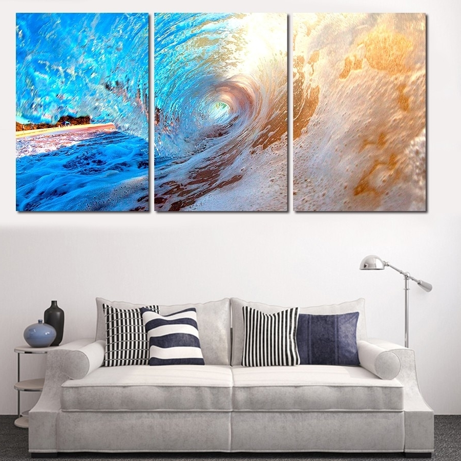 Ocean Wall Art Inside Current 3 Plane Abstract Sea Wave Modern Home Decor Wall Art Canvas Blue (View 9 of 20)