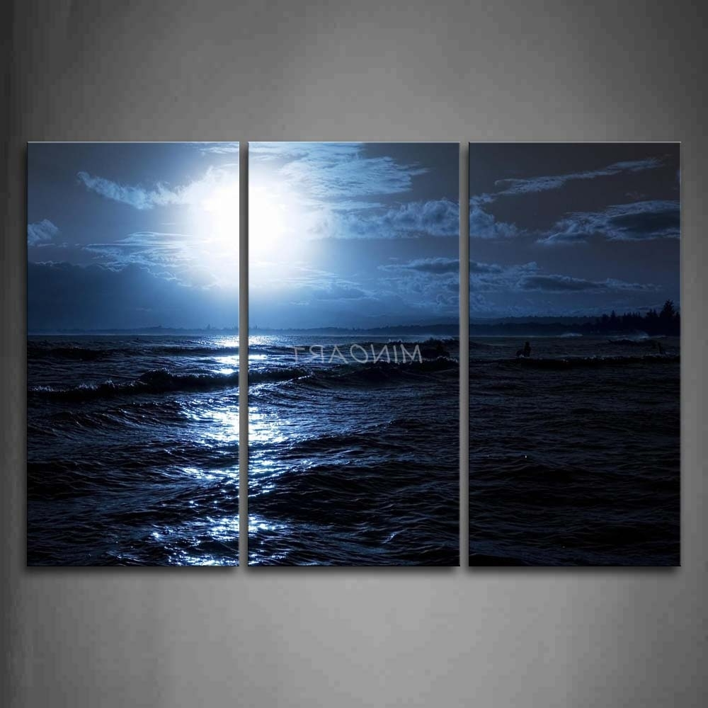 Ocean Wall Art With Most Current 3 Piece Blue Wall Art Painting Ocean At Night Bright Moon Picture (View 14 of 20)