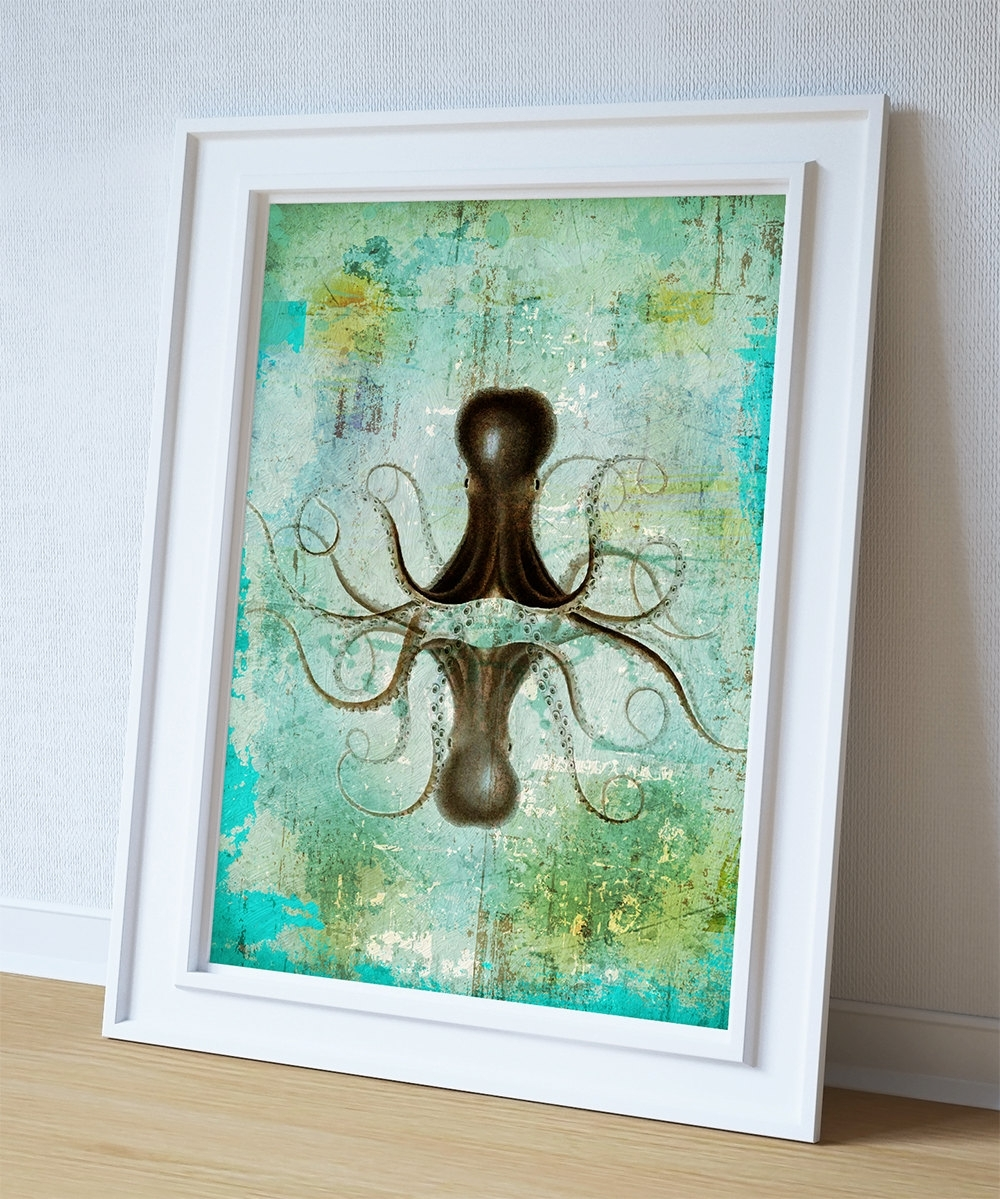 Octopus Art Print Sea Squid Vintage Nautical Decor Ocean Wall Art Pertaining To Newest Octopus Wall Art (View 8 of 20)