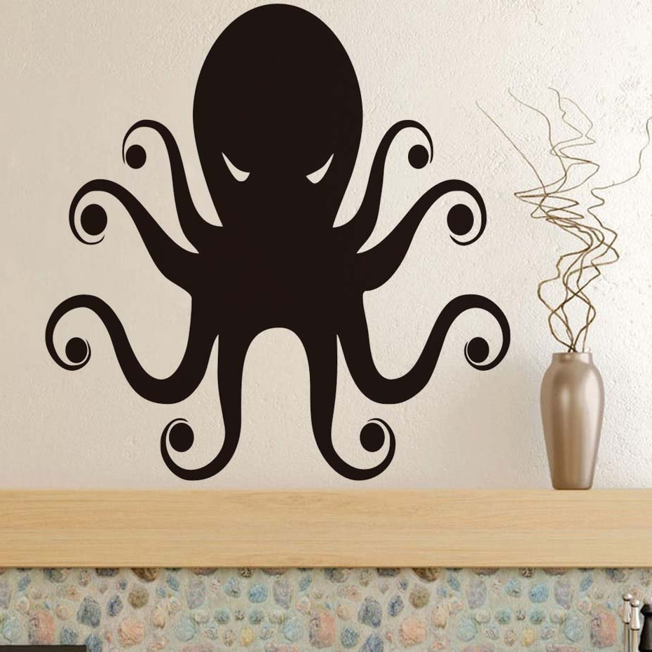 Octopus Wall Art For Most Popular Terrible Eyes Octopus Wall Art Stickers Black Wall Stickers For Kids (Gallery 15 of 20)