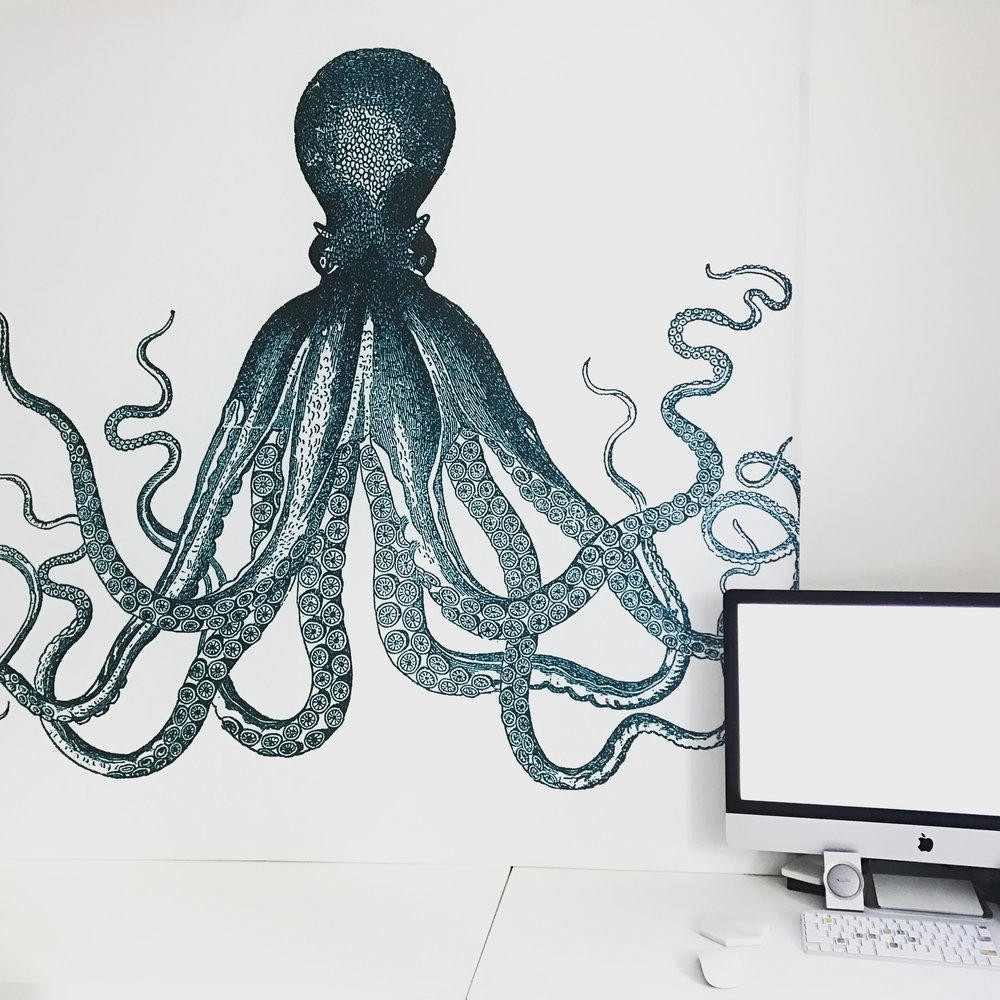 Octopus Wall Art Within Preferred Diy Octopus Shower Curtain Wall Art — Tori Kraut (Gallery 9 of 20)