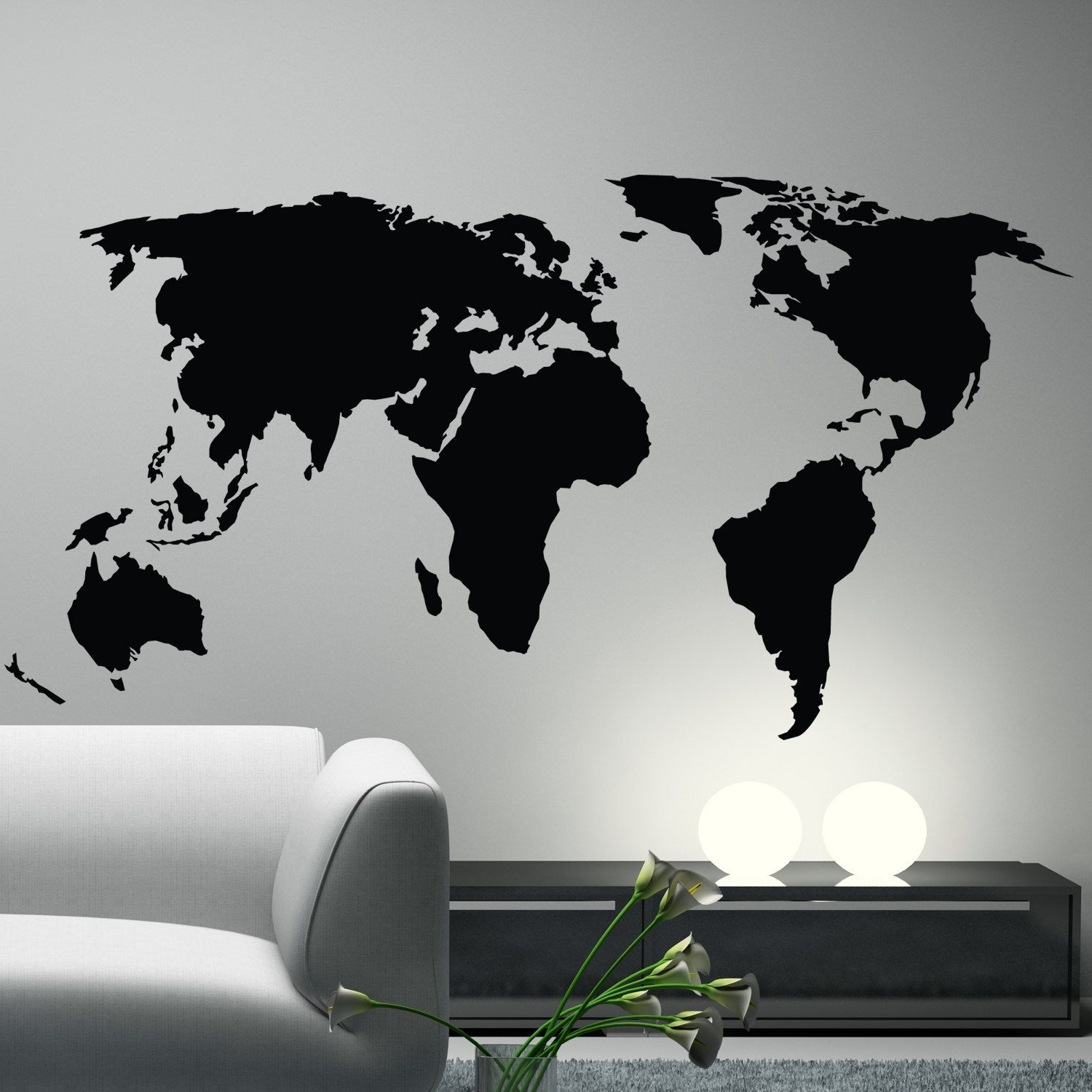 Office Decor. World Map Wall Decal Sticker World Country Atlas The With Favorite Vinyl Wall Art World Map (Gallery 2 of 20)