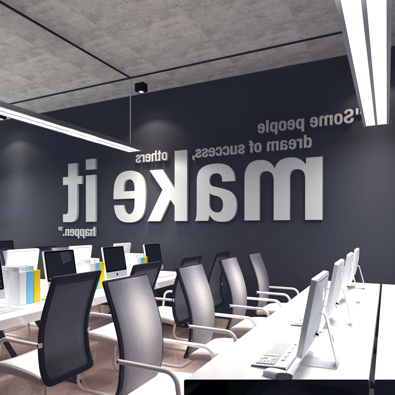 Office Wall Art Within Widely Used Make It Happen 3D Office Wall Art – Moonwallstickers (View 11 of 15)