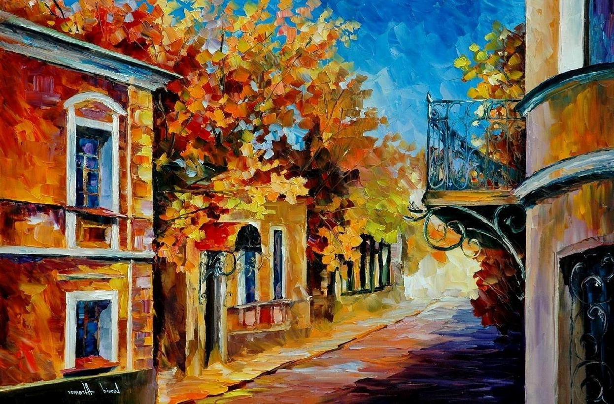 Old Balcony — Palette Knife Oil Painting On Canvasleonid Afremov With Regard To Famous Large Canvas Painting Wall Art (Gallery 13 of 20)