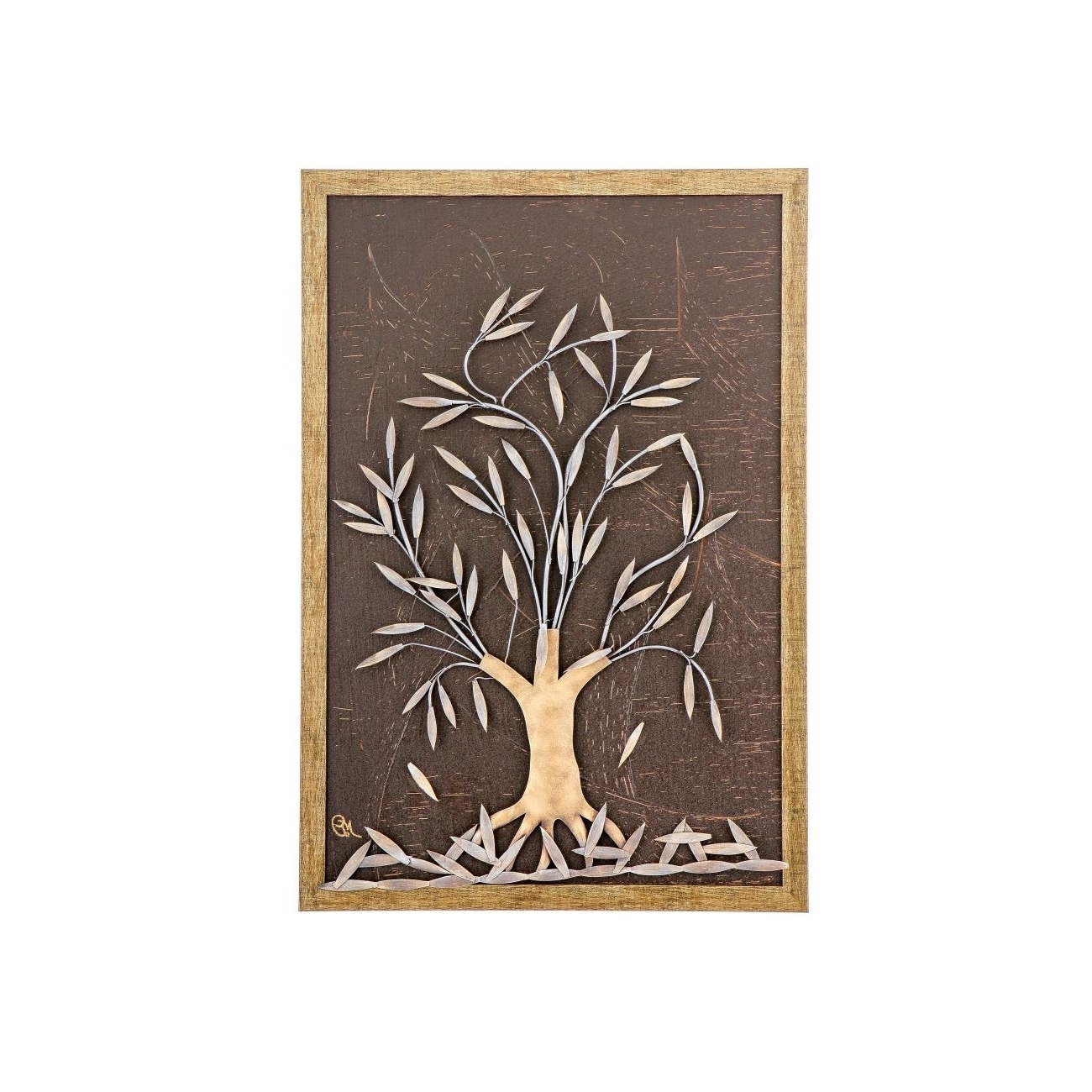 "Olive Tree, 3D Handmade Wood & Metal Wall Art Framed Decor, 25"" (64Cm) With Well Known Wood And Metal Wall Art (View 10 of 20)"