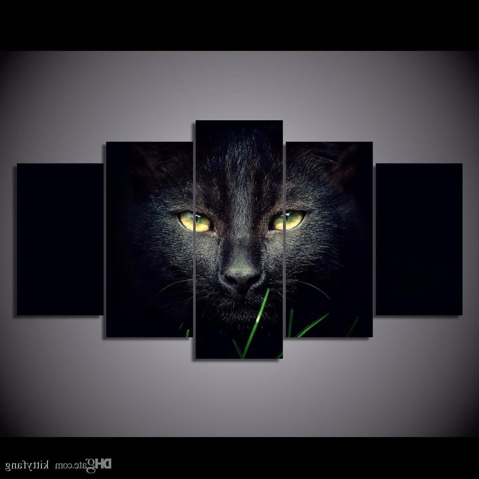 Online Cheap Framed Hd Printed Black Cat Animal Wall Art Canvas Pertaining To Most Popular Cat Canvas Wall Art (View 13 of 20)