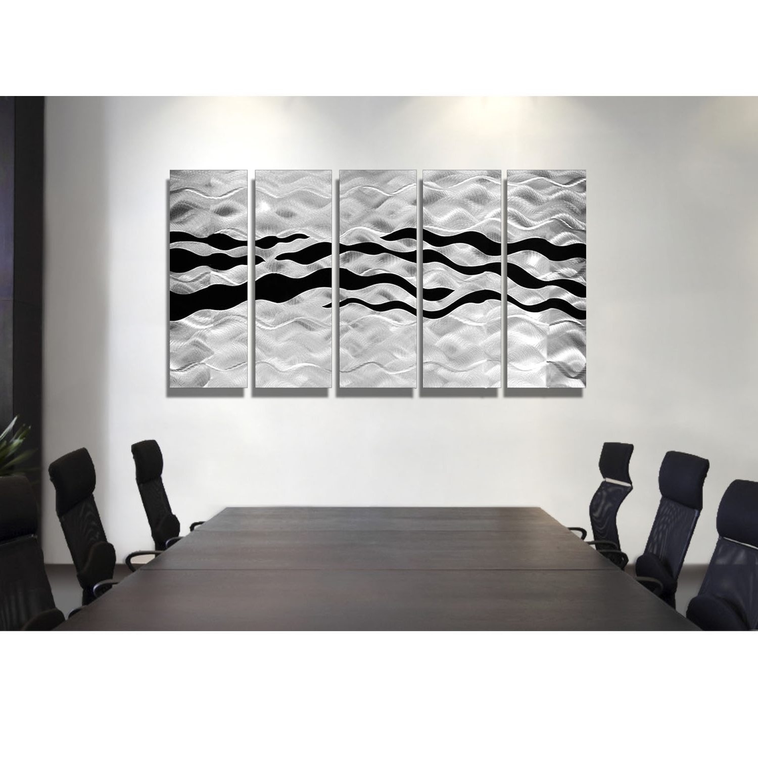 Onyx Oceana – Silver And Black Metal Wall Art – 5 Panel Wall Décor Within Well Known Black Metal Wall Art (View 17 of 20)
