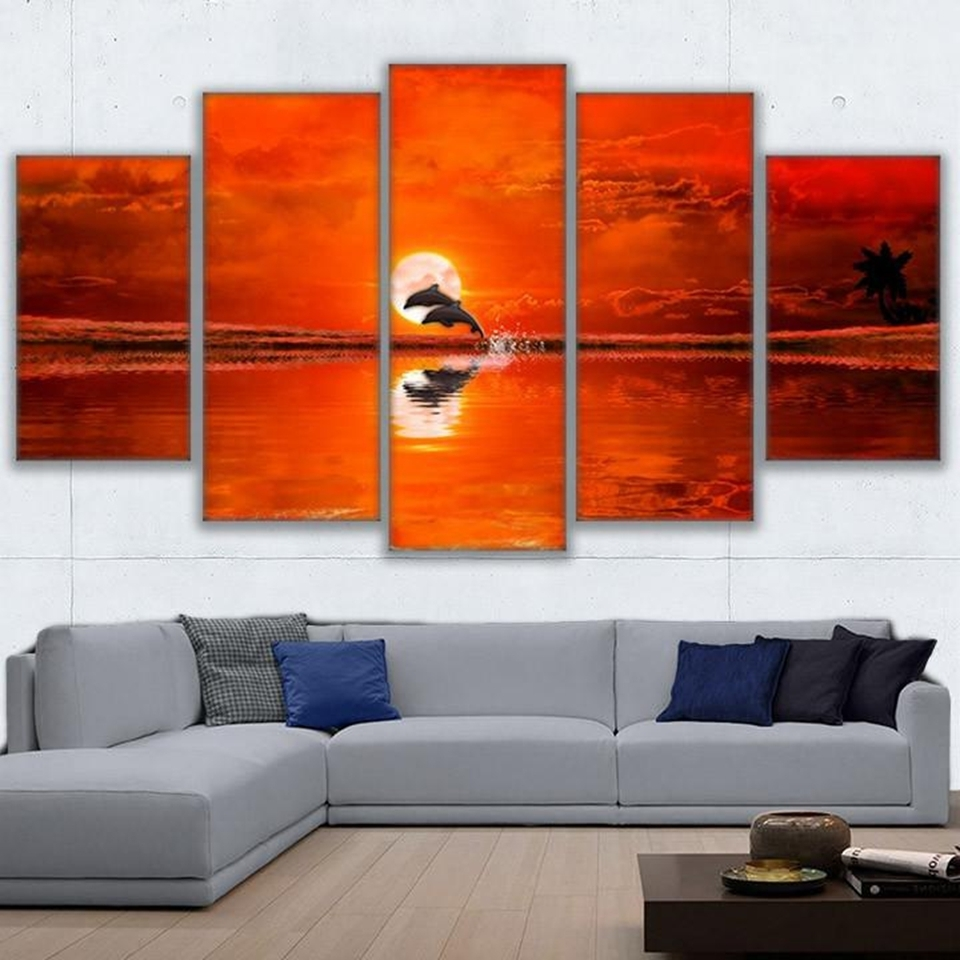 Orange Wall Art Intended For Most Recently Released Canvas Wall Art Frame Home Decor Hd Prints Pictures 5 Pieces Dolphin (View 10 of 20)