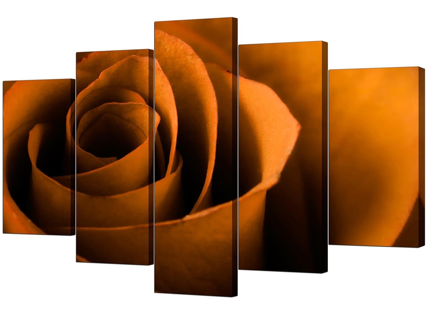 Orange Wall Art Pertaining To Latest Extra Large Rose Canvas Wall Art 5 Panel In Orange (Gallery 4 of 20)