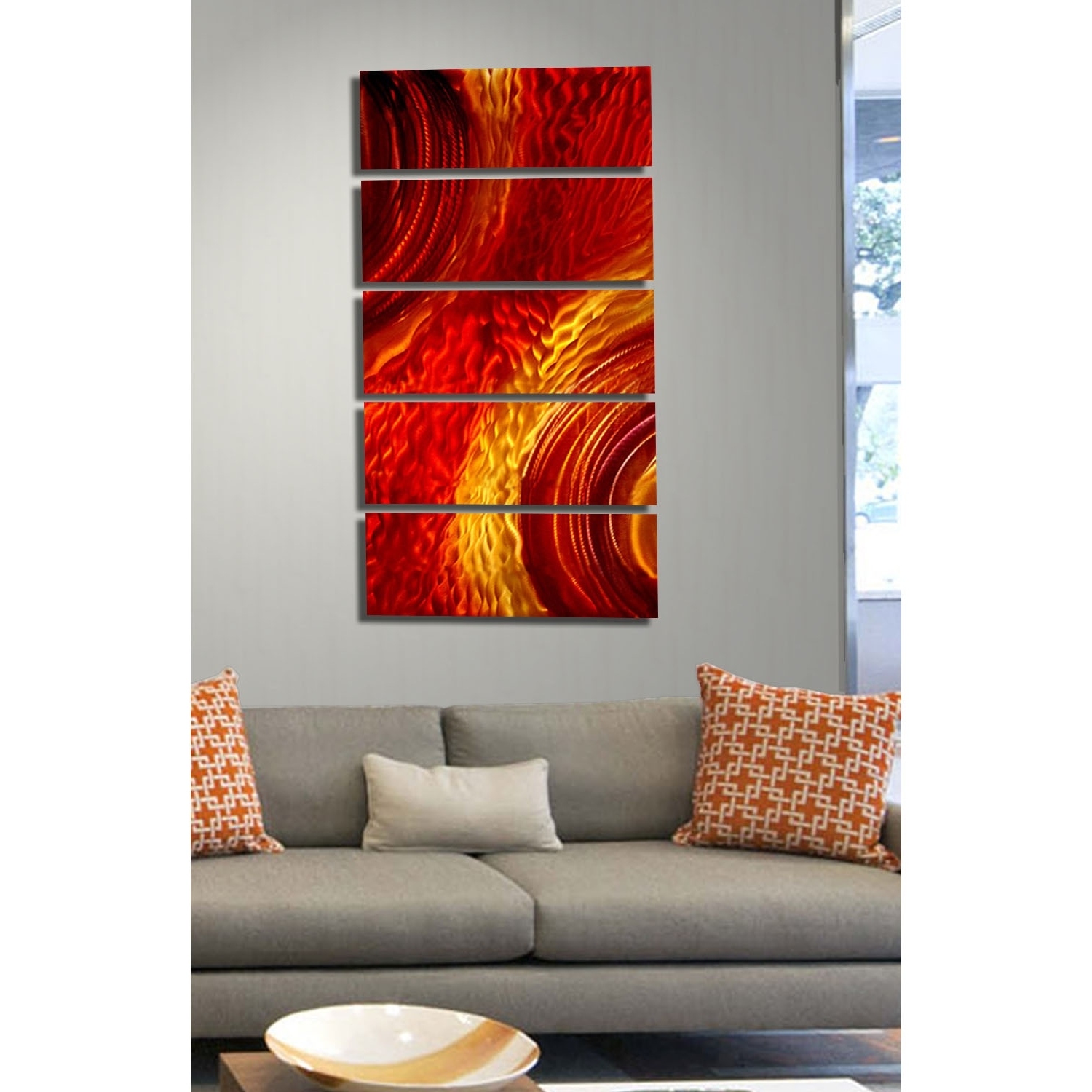 Orange Wall Art Within Latest Magma – Red And Gold Metal Wall Art – 5 Panel Wall Décorjon (View 15 of 20)