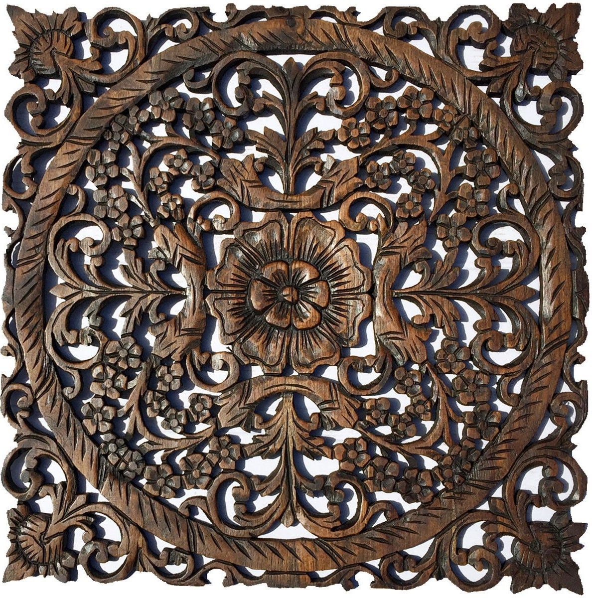 Oriental Carved Floral Wall Decor. Unique Asian Wood Wall Art. Large Inside Most Recently Released Large Rustic Wall Art (Gallery 13 of 20)