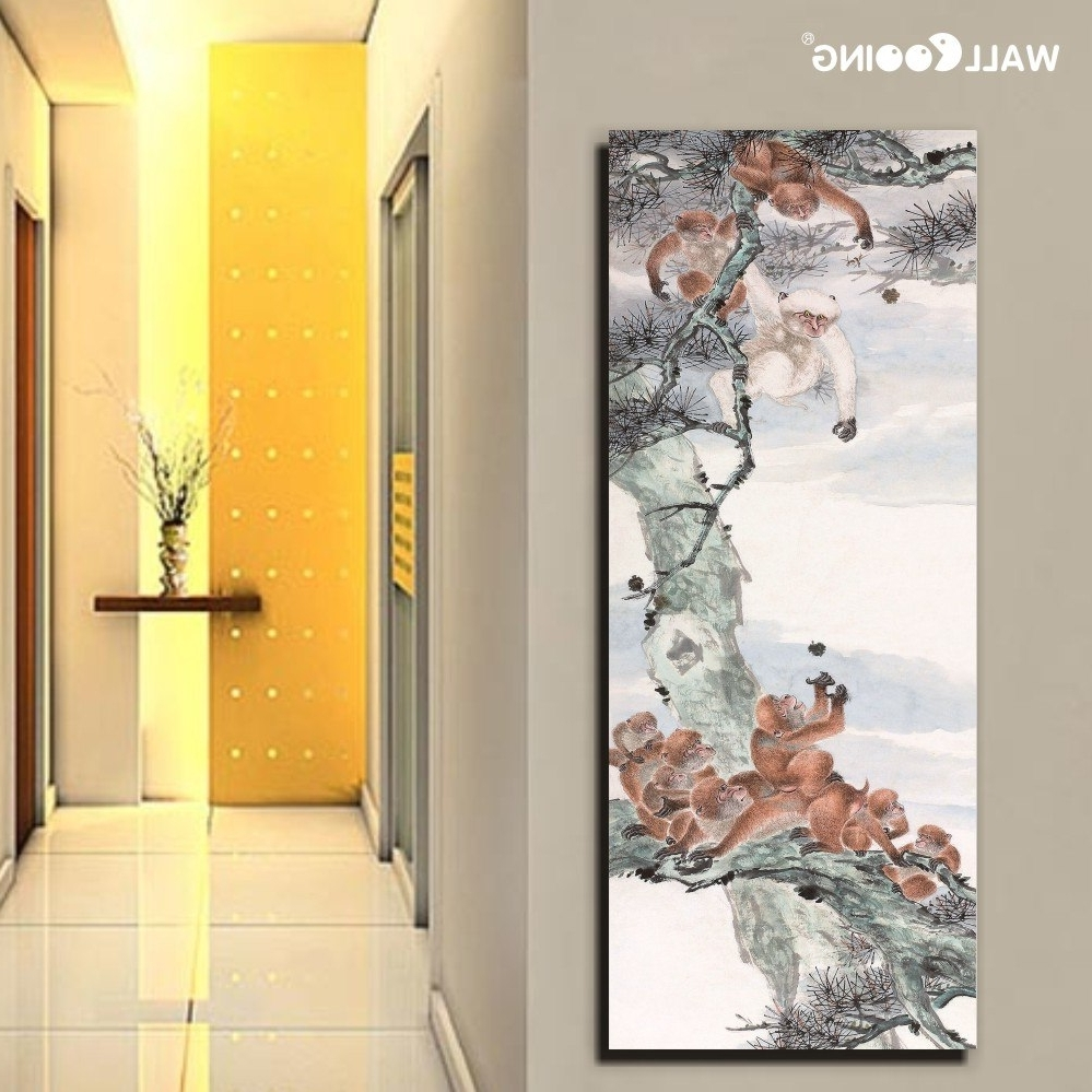 Oriental Wall Art Regarding Most Up To Date Hand Painted Canvas Painted Night Sky Lake Landscape Oriental (View 13 of 20)