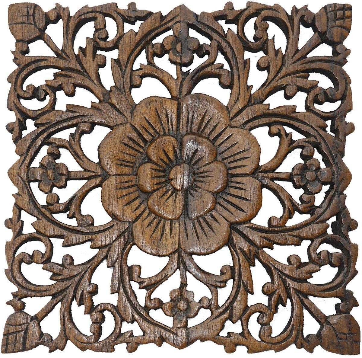 Oriental Wall Art Regarding Well Liked Wood Plaque Oriental Carved Lotus. Rustic Wall Decor. Hand Carved (Gallery 9 of 20)