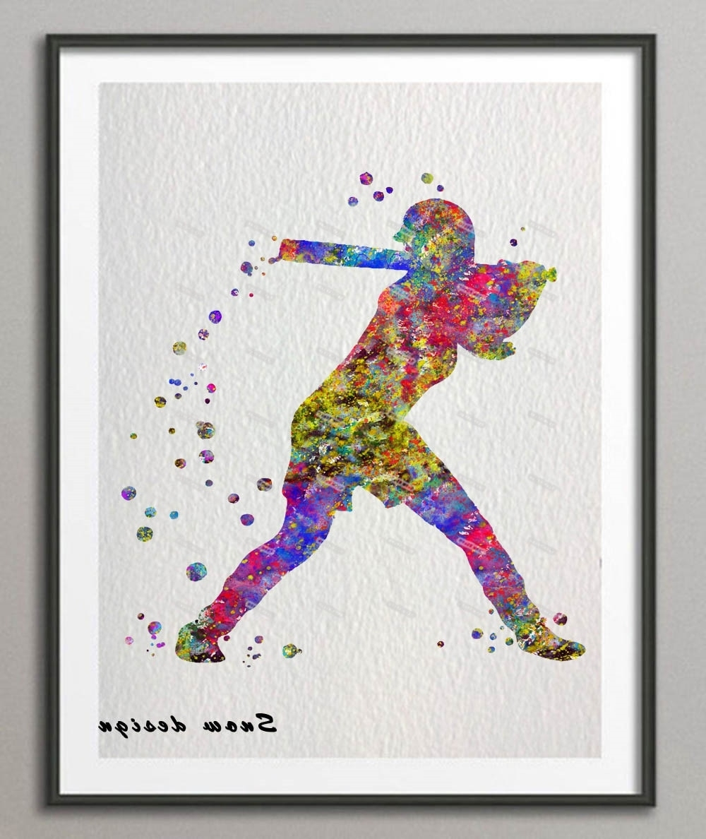 Original Baseball Softball Player Watercolor Canvas Painting Sports For 2017 Sports Wall Art (View 20 of 20)
