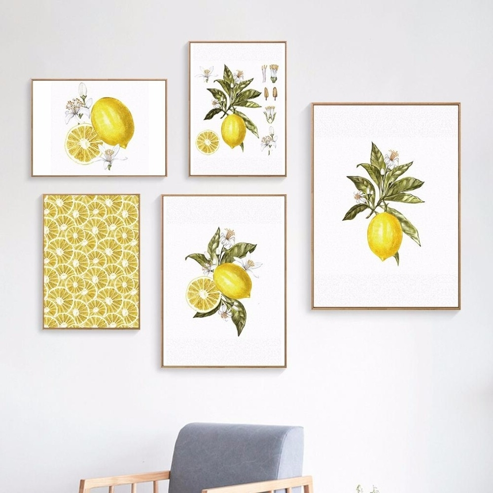Oubei Art Nordic Lemon Wall Art Wall Pictures For Living Room Modern Inside Well Liked Lemon Wall Art (View 17 of 20)