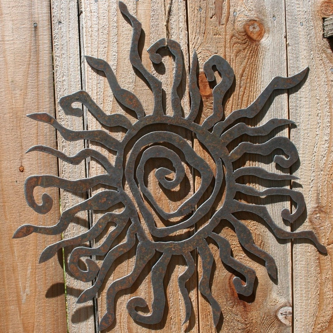 "Outdoor Sun Wall Art In 2017 Rustic Sun Indoor/outdoor Wall Decor 30"" Recycled Steel Custom Sun (View 6 of 15)"