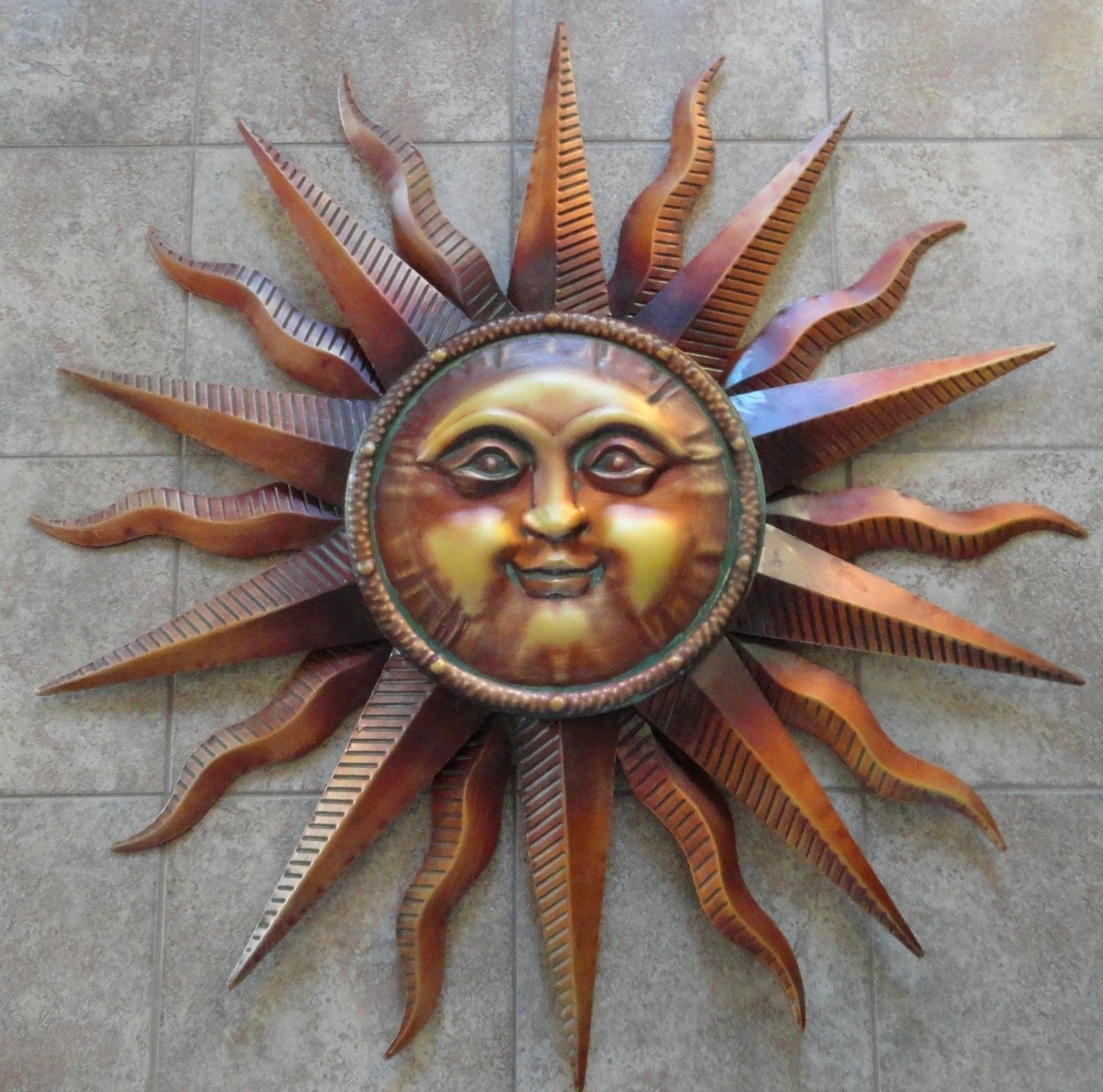 Outdoor Sun Wall Art Pertaining To Best And Newest Copper Patina Sun Metal Wall Art Large Outdoor Wall Art  (View 8 of 15)