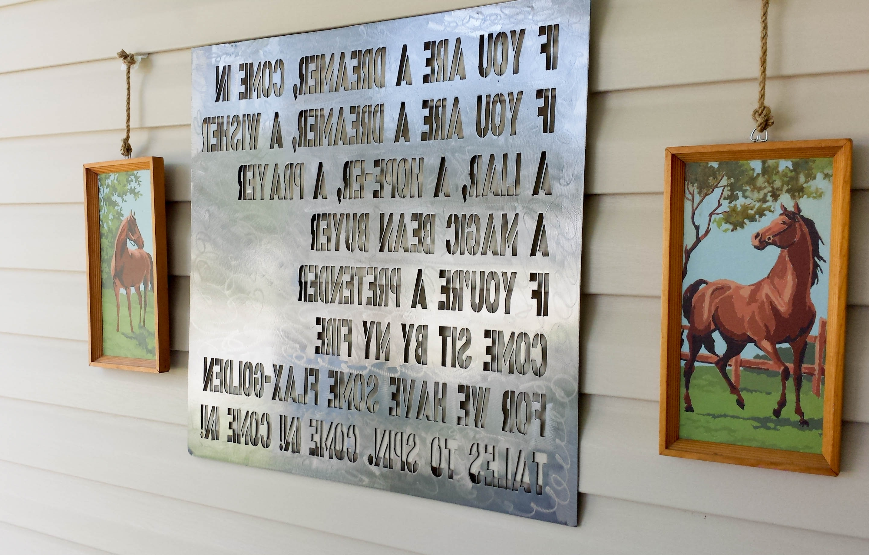 Outdoor Wall Art Decors Pertaining To Trendy How To Hang Decor On Vinyl Siding Our Storied Home Shel Silverstein (View 4 of 20)